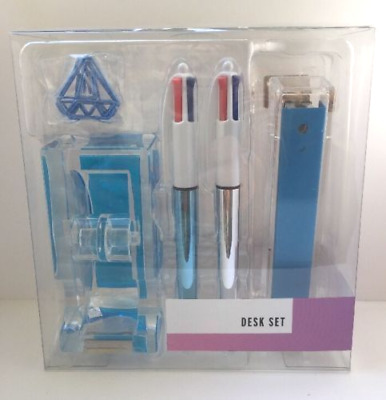 Clear Acrylic Desk Accessory Set $40 Stapler Tape Dispenser Pens Clips Blue NWT