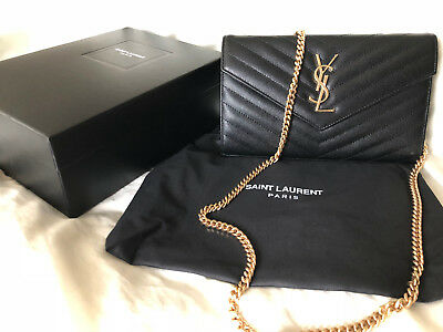c4f3c58e9b1 AUTHENTIC YSL SAINT Laurent Monogram Wallet Chain Bag Chevron Black Shoulder  Bag - $700.00 | PicClick