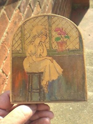 1920/30s Art Deco Wooden Decorated Single Bookend - Young Girl