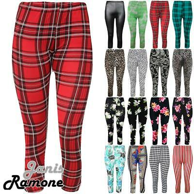 New Womens Printed 3/4 Length Stretchy Yoga Fitness Cropped Leggings Skinny Pant
