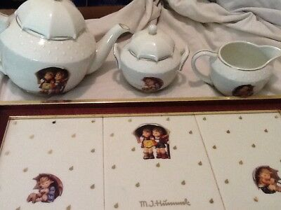 M.J.Hummel Goebel Porcelain Tea Set Tray 4 pc Stormy Weather Great Condition!