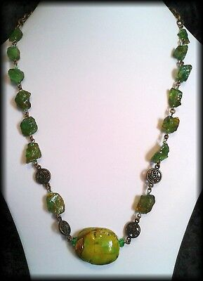 Handmade Vintage Style Egyptian Scarab Beetle Aqua Green Crystal Beaded Necklace