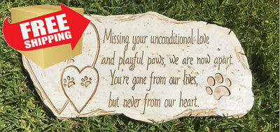 Pawprints Remembered Pet Memorial Stone Marker for Dog or Cat - For Outdoor...
