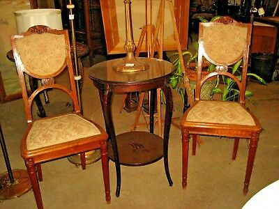 Pair of Antique Art Nouveau Side or Bedroom Chairs - French  - Carved Walnut
