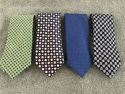 Brioni Mens Ties Lot Of 4 Made In Italy Blue Black Green 3.5 Wide Nice Condition