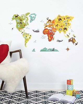 Petit Collage Wall Decal Animals Of The World Map peel & stick wall kids nursery