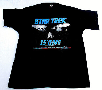 VTG 90s 1991 RARE STAR TREK TOS TNG 25 YEARS ENTERPRISE T-SHIRT MENS sz XL NEW