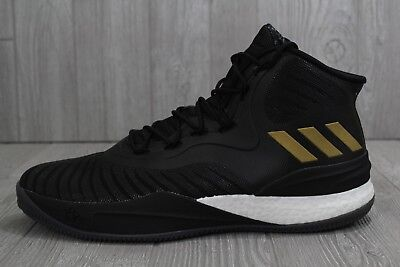 0dbe5294798 31 New Mens Adidas D Rose VIII 8 Boost Basketball Shoes Black Gold CQ1618  SZ 15
