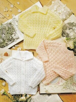Baby Children knitting pattern Jumpers Cardigan 8 Ply