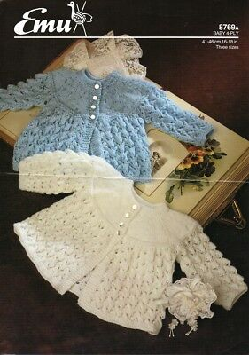 Baby knitting pattern PREMMIE Babies Matinee Jackets  4 Ply