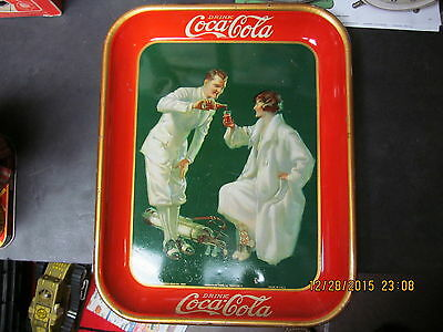 Coca Cola Coke 1926 Metal Serving Tray The Golfers American Art Works Nice Cond.