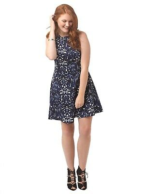 KAREN KANE SCUBA Dress in Indigo Ink Plus Size 1X Fit-and-Flare Abstract  Animal