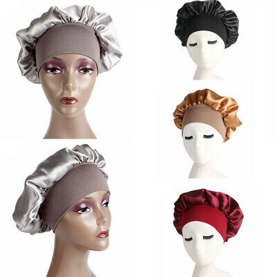 Women Sleep Cap Satin Soft Night Sleeping Hat Long Hair Care Wide Band Bonnet AU