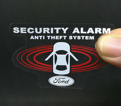 2 FORD Car Alarm DECALS, Inside/Outside Glass, Security System Window STICKERS