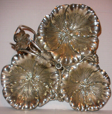"Large 11"" antique silver plate aesthetic centerpiece triple serving tray dish"