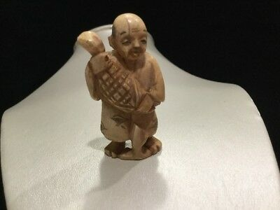 Antique Carved Netsuke Japanese Man Holding Fish Estate Find 2""