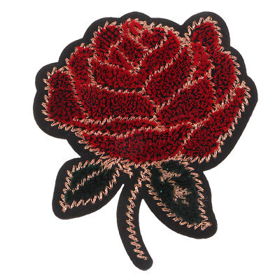 Rose Flower Applique Badge Embroidered Floral Collar Sewing Patch Clothes