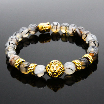 New 8MM Owl Buddha Beaded Natural Lava Stone Gold Silver Fashion Men's Bracelets