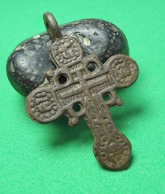Ancient Bronze Cross Wearable Pendant Antique Rare C31
