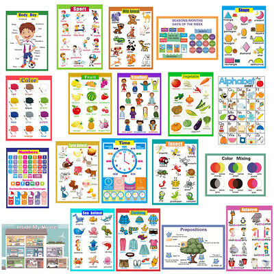Childrens Educational Wall Chart Posters Home School Nursery Kids Learning