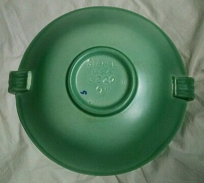 "VTG Stangl 9"" green ceramic art deco shallow bowl with ribbed handles, EUC"