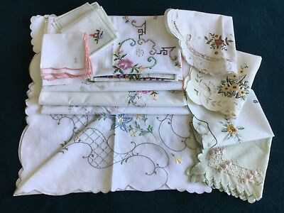 Vintage Cotton Embroidered Tablecloths/napkins/table Mats