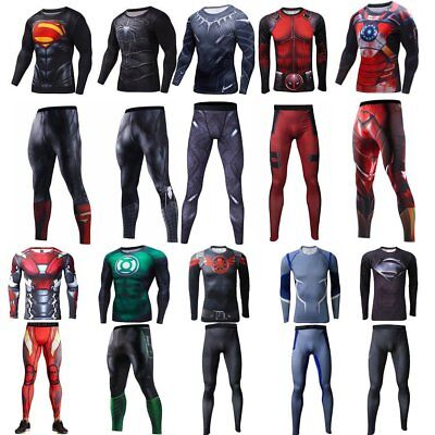 Super Hero Marvel T-shirt Long Sleeve Compression Sport  Fitness Cycling Pants