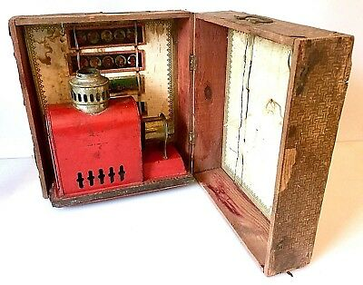 Antique Magic Lantern Projector & Slides in Original Wood Box Made in Germany