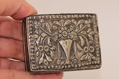 Antique Original Silver Ottoman Greek Amazing Medicine Box
