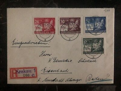 1941 Krakau GG Poland Germany Registered Cover To Donaueschingen Stamp Set