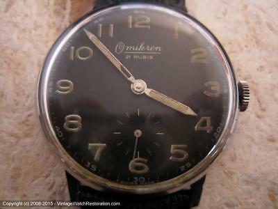Omikron 21 Rubis German Military 'Bundeswehr-type' Black Dial, Manual,   (1334)