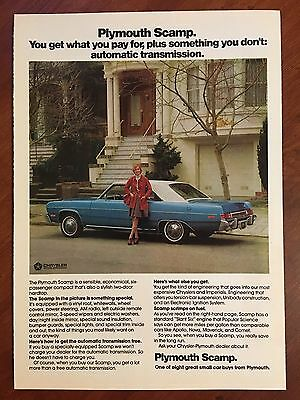 Vintage 1974 Original Print Ad Blue PLYMOUTH SCAMP with Automatic Transmission