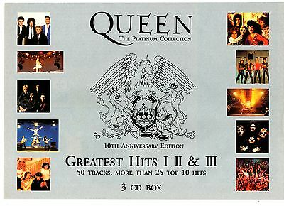 QUEEN : THE PLATINUM COLLECTION - PROMO ADVERTISEMENT (3cd poster hits signed lp