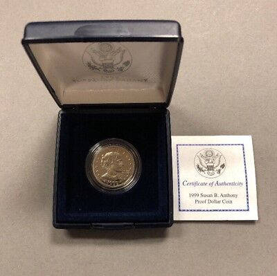 1999-P Susan B. Anthony Proof Dollar Coin (SBA$1) Mint Box and COA