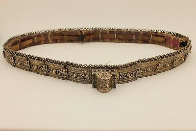 Antique Original Perfect Silver Niello Decorated  Russian Amazing Strong Belt