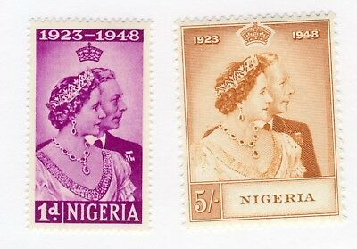 NIGERIA 1d and 5 shilling Silver Wedding set. MLH