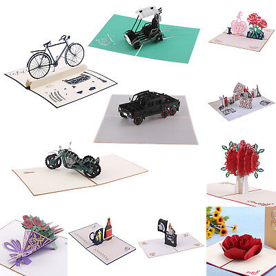 3D Rose Greeting Card Pop Up Paper Cut Postcard Valentines Birthday Wedding Gift