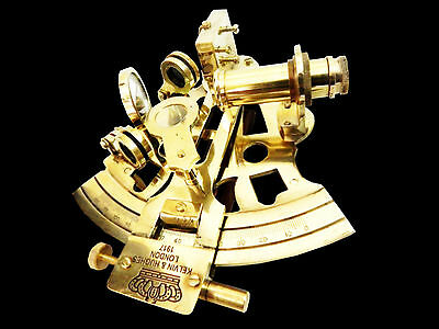Brass Sextant Antique Nautical Maritime Decor Navigation Pirate Collectible 4""