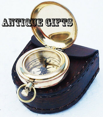 Brass Pocket Compas & Push Button Pocket Compass vintage Style compass Gift