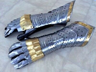 Gauntlet Gloves Armor Pair w/ Brass Accents ~ Medieval Knight Crusader ~ Steel