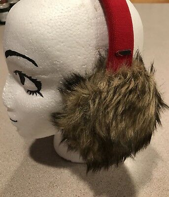 New Hollister Ear Muffs Womens One Size Plush Faux Fur Winter Warmers Cover Red