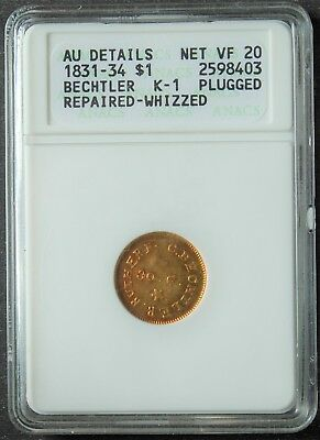1831-34 Bechtler $1 Gold, 30 G., K-1, AU-Details, ANACS, Net VF-20, Repaired,