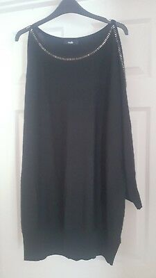2b505e88ede2e Ladies wallis size large black silver sheen thread cold shoulder top long  sleeve