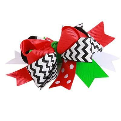 Chic Colourful Kids Girls Christmas Hair Clip Children Bowknot Flake Gifts 8C