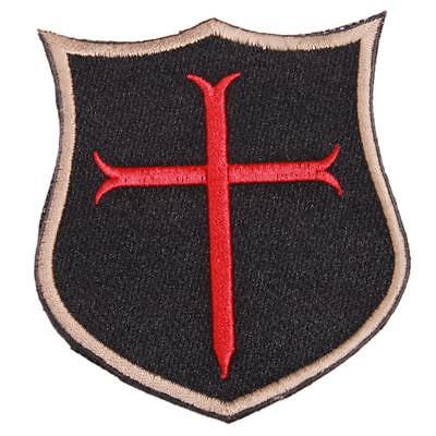 Fashion Cloth Unisex 3D Cross Crusader Shield Rubber Tactical Morale Patches 8C
