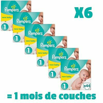 PAMPERS New Baby Taille 1 - 2 a 5Kg - 264 couches - Format pack 1 mois