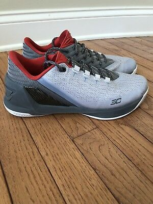 acbd472beec1 UNDER ARMOUR MENS Curry 3 Low Red Grey And White Size 9.5 -  30.00 ...