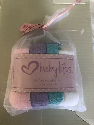 """Babykiss  Super Soft Baby Washcloths 24 Pk. Solid Colors 100% Polyester 9""""x9"""""""