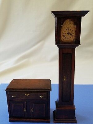 Vintage Dollhouse Miniature Grandfather Clock Clothes Dresser Signed T. Campbell