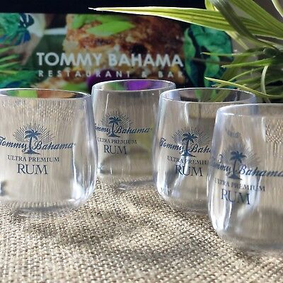 Tommy Bahama Lot 4 Shot Glasses Rum Acrylic Clear Tasting Drinking Set Surf New